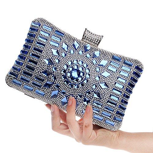 ruiio Fashion Lady Diamond Luxus Abend Handtasche Hochzeit Party Clutch Make-up Taschen Tasche Geldbörse Blau
