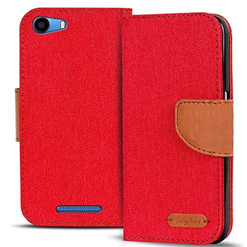 Verco Lenny 2 Hülle, Schutzhülle für Wiko Lenny 2 Tasche Denim Textil Book Case Flip Case - Klapphülle Rot