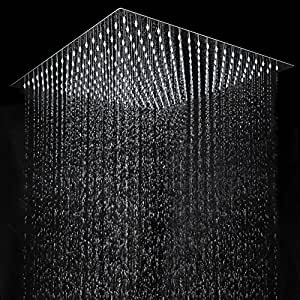 aquamarin pomme de douche carr effet de pluie t te de douche en acier inoxydable taille au. Black Bedroom Furniture Sets. Home Design Ideas
