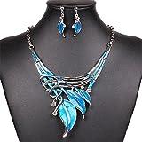 niceEshop(TM) Señoras Pendientes Collar de Forma de la Hoja de Estilo Y (Azul)