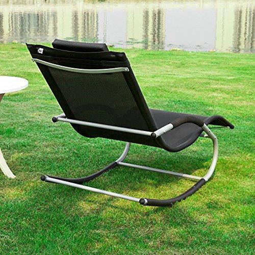 SoBuy® OGS28-Sch Fauteuil à bascule Transat de jardin avec repose ...