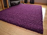 "Shaggy Thick Modern Luxurious Plum Deep Purple Rug High Pile Long Pile Soft Pile Anti Shedding Available in 9 Sizes (160cm x 220cm 5ft 3"" x 7ft 3"")"