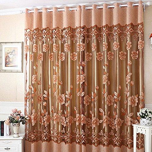 1 Stück Moderne Gardinen Wohnzimmer Voile Blumen Tulle Fenstersiebung Vorhänge drapieren Schals 250cmx100cm (H x B)- Kaffeebraun