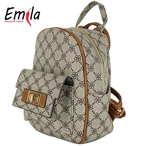 Emila Zaino zainetto donna con tasca frontale stile Gucci con stampa fiori  da passeggio lavoro scuola 2b180be3128d