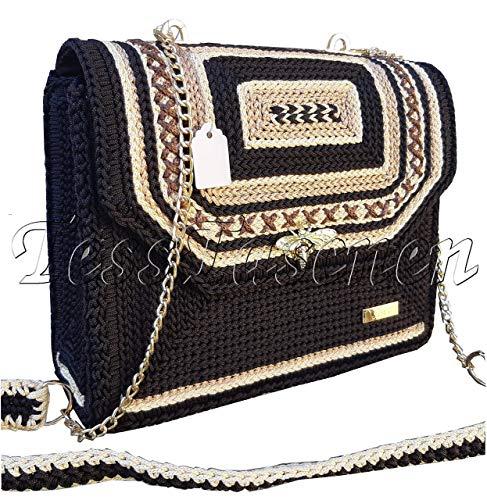 Damen Braune Schultertasche Gestickte Handtasche mit Verschluss - Libelle Frauen Tasche mit Schultergurt und Kette Geflochtene Tasche mit Muster (Frauen Taschen Schultergurt)