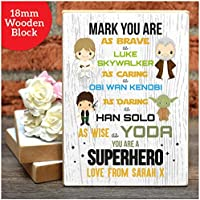 PERSONALISED Valentines Day Gifts STARWARS Boyfriend Husband Wooden Blocks Him - PERSONALISED ANY NAMES Anniversary, Birthday - Black or White Framed A5, A4, A3 Prints, 18mm Wooden Blocks