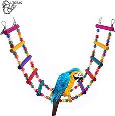 littlegrass Papagei Spielzeug,Sittich Nymphensittich, Haustier Vogel Papageienspielzeug Swing Hängenden Leiter 85cm