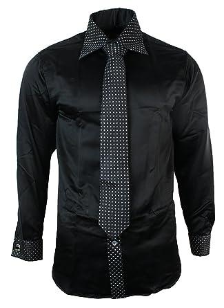 Boys Kids Button Shirt Tie Cuff Link & Hankie White Black Trim ...