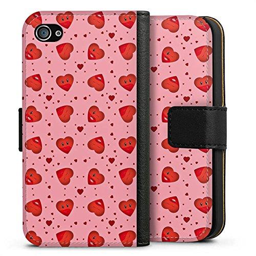Apple iPhone X Silikon Hülle Case Schutzhülle Valentinstag Pink Herzen Sideflip Tasche schwarz
