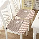 LJ&XJ Algodón Cojines de sillas de comedor, Antideslizante Gruesas Lavable Cómodo Respirable Cojín del asiento con las correas, Banco Sofá, Set 2-F 45x45cm(18x18inch)