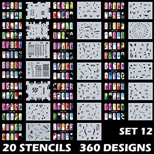 Custom Body Art Airbrush Nail Schablonen-Design Serie Set # 12inkl. 20Individuelle Nail Vorlagen mit 18Designs für je Insgesamt 360Designs der Serie # 12