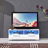 UEnjoy TV Unit White 100CM TV Cabinet High Gloss TV Stand 2 Shelves and 2 Drawers FREE LED RGB Lights