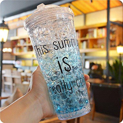 Miruike Sommer Eisbecher mit Strohhalmen, Frosty Gefrierschrank, Kunststoff Tasse für Bier, Saft, Milchshakes und mehr Getränke, Silikon plastik, blau, 18.7oz(550ml)