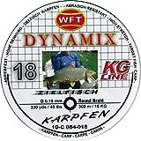 WFT Round Dynamix Karpfen black, 300m geflochtene Schnur zum Karpfenangeln, Angelschnur, Karpfenschnur, Durchmesser/Tragkraft:0.18mm / 18kg Tragkraft