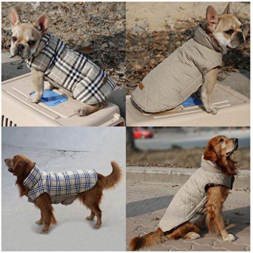 Hundejacke für den Winter, mit Schottenkaro, weich, warm, zum Wenden - 3