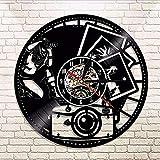 TXYANG Vinyl Record Wall Clock 1 Ficha De Fotografía En 3D para Un Par De Fotografías De Un...