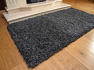 Soft Touch Shaggy Charcoal Thick Luxurious Soft 5cm Dense Pile Rug. Available in 7 Sizes produced by Rugs Supermarket - quick delivery from UK.