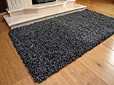 Soft Touch Shaggy Charcoal Thick Luxurious Soft 5cm Dense Pile Rug. Available in 7 Sizes (80cm x 150cm)