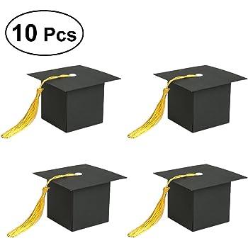 Luoem - Set di 10 scatole regalo a forma di tocco di laurea per la festa f348d6063f7d