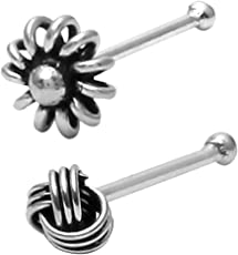 Abhooshan 92.5 Oxidised Sterling-Silver Tiny Flower Shaped and Knot Shaped Nose Pin for Women