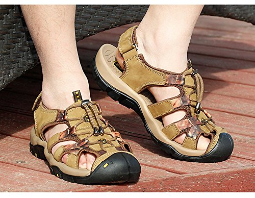 Dayiss Herren Geschlossene Sandalen Leder Trekkingsandalen Outdoorschuhe Slingback Schuhe Khaki