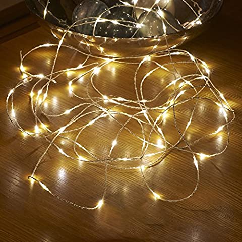 Aurglow guirlande lumineuse pour Noël de 5m extérieure et résistante à l'eau, alimentée par piles avec câble invisible et 50 micro LED – Blanc Chaud