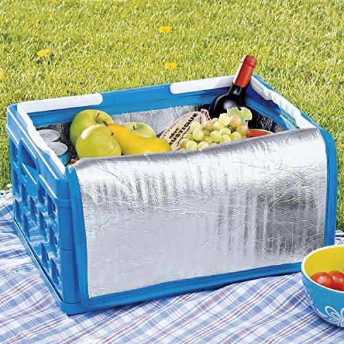 Bandeja de almacenamiento plástico plegable azul con 2asas blanco (H) 245x (L) 490x (L) 360mm con 1bolsa IsoTherm (Sunware Square Folding Box + handle 32L)