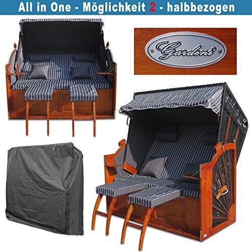 Volllieger Strandkorb XXL anthrazit günstig kaufen # 2 Bezüge ( Grundbezug + abnehm- und waschbarer Wechselbezug ) # inkl. Schutzhülle - 4