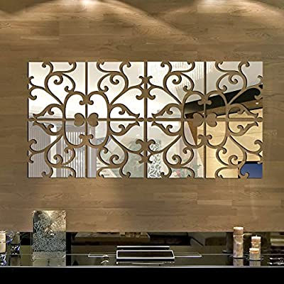 Anself Removable DIY 3D Acrylic Mirror Wall Decal Set Sticker Art Decals Mural for Home Decoration - cheap UK light shop.