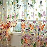 Bluelans® rideau, panneau en voile, imprimé papillon tulle, rideau porte fenêtre balcon 100cm x 200cm.