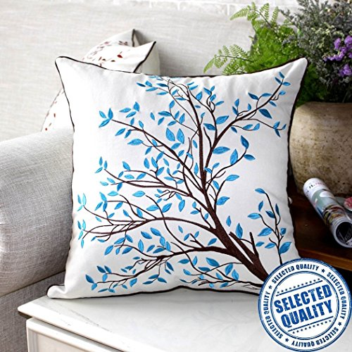 ZUODU 45cmx45cm Embroidered Cotton Linen Blue Decorative Throw Pillow Cover Cushion Case