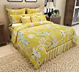 Home Candy Floral Cotton Double Bedsheet with 2 Pillow Covers - Green