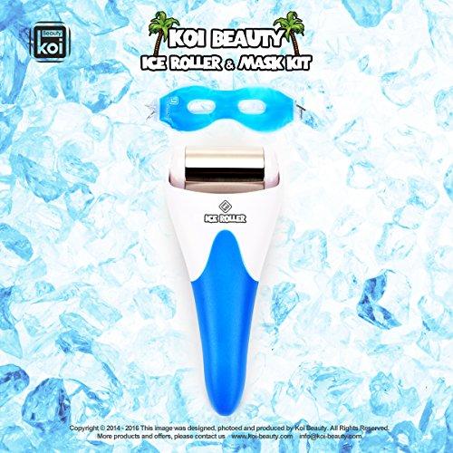 Koi Beauty 2en1 – Bleu Portable Professionnelle Ice Cooling Roller Rouleau Rouleau de glace refroidissement Masseur acier inoxydable pour sedación le visage et le corps avec Eyepatch froid Patch dans le trou