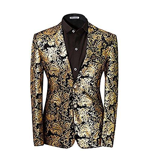 Taglio Slim Fit giacca da uomo matrimonio smoking Golden oro S
