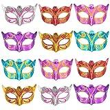 12 Pièces Unisexe Or Masque de Mascarade Brillant Plaqué Accessoires de Mariage Mardi Accessoire de Fête de Costume