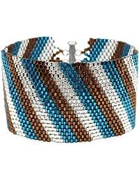 Bracelet Peyotl Rayures Diagonales (Bleu Sarcelle/Brun) - Ensemble Joaillerie Beadaholique Exclusif