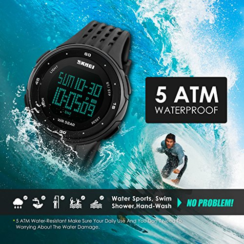 Mens-Sport-Watch-Military-Watch-Thin-Big-Face-Dail-Wrist-Outdoor-Watch-Black-Clearly-Scale-Design-Lightweight-Case-LED-Backlight-Plastic-Band-50M-Water-Resistant