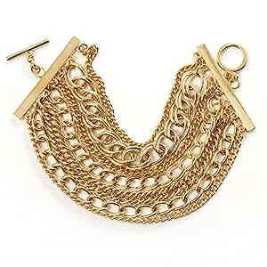 Avalaya Bracelet Multi-Chaînes Fermoir Bascule Ton Or