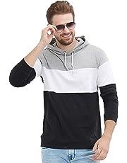 LEWEL Men's Full Sleeve Hooded T-Shirt (Black, White, Grey)