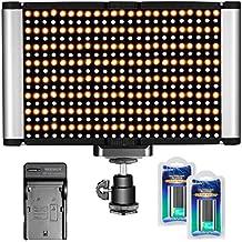 Neewer Pannello Luce LED Dimmerabile da 2 Colori 280 Bulbi 3200K-5600K con Standard Coldshoe e Batterie 7,4V 2600mAh, Caricabatterie per DSLR Videocamere Canon Nikon