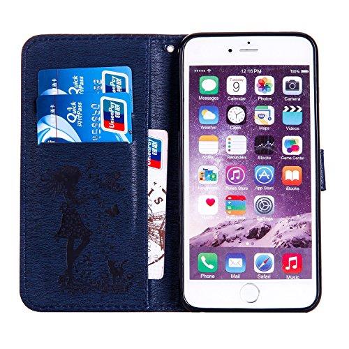 Für Apple IPhone 6 u. 6s plus Fall-Abdeckung, prägeartiges Mädchen-Muster Rhinestone PU-lederner Mappen-Kasten-Schlag-Standplatz-Fall mit Halter u. Lanyard u. Karte Bargeld-Schlitze ( Color : Blue ) Darkblue