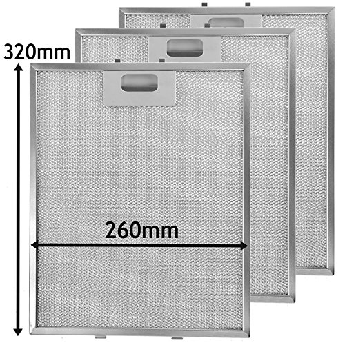 SPARES2GO Metal Mesh Dunstabzugshaube Filter/Extractor Fan Vent (Packung mit 3 Filter, Silber, 320 x 260 mm) - Metal Aluminium Mesh