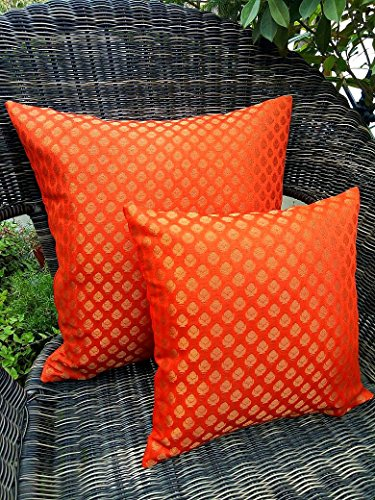 GET BOLD WITH RETRO!! Premium Quality 'TANGO ORANGE & GOLDEN' Brocade Cushion Covers (Set of 2) (12
