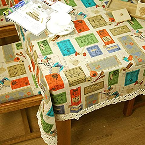 Nappes en lin classique de style américain Home/Piscine/Partie Toalha Mantel de Mesa size:90*90-140*220 Housse de table Tapis de table,90x90