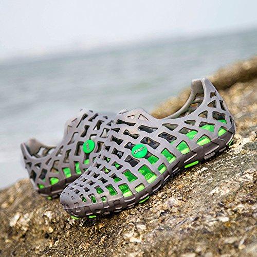 Outdoor Strandschuhe Paar Loch Schuhe Männer und Frauen Beiläufig Turnschuhe Anti-Rutsch Draussen Atmungsaktiv Strand Schuhe Grau Grün