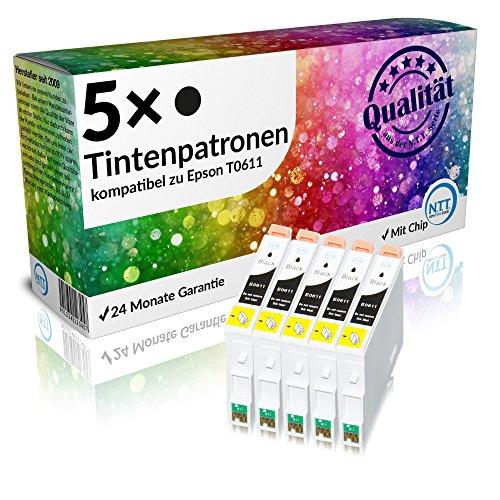 N.T.T.® 5 x Stück XXL Druckerpatronen / Tintenpatrone kompatibel zu Epson T611 Schwarz / Black, Sparpack