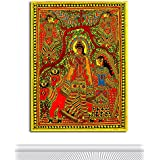 Tamatina Madhubani Canvas Paintings - Radha Krishna - Radha Krishna Paintings - Traditional Art Paintings - Paintings For Home Décor - Paintings For Bedroom - Paintings For Living Room - Religious Canvas Paintings - Madhubani Paintings For Wall