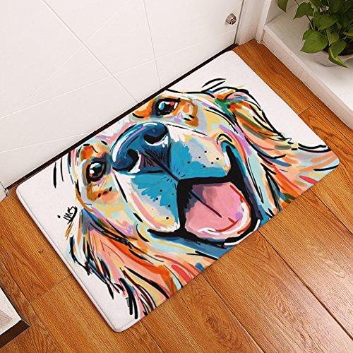 DOTBUY Fußmatte, Gemalter Hund Flanell Innen und Aussen Fussmatten Rutschfest und Waschbar Praktische Fußabtreter Fussabstreifer Flur Teppich Wohnzimmer (50 * 80CM, Gemalter Hund K)