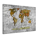 Bilderdepot24 Kunstdruck - Weltkarte retro II sw - Bild auf Leinwand - 150x90 cm 3tlg. - Leinwandbilder - Bilder als Leinwanddruck - Wandbild
