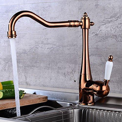 JRUIA Nostalgie Küche Wasserhahn Landhaus Küchenarmatur-Spültischarmatur Einhebel Mischbatterie Spüle Armatur mit Keramisches Griffe aus Messing,360°Schwenkbar (Rose Gold)
